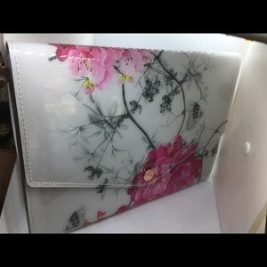 Ted Baker White with red flowers Clutch purse